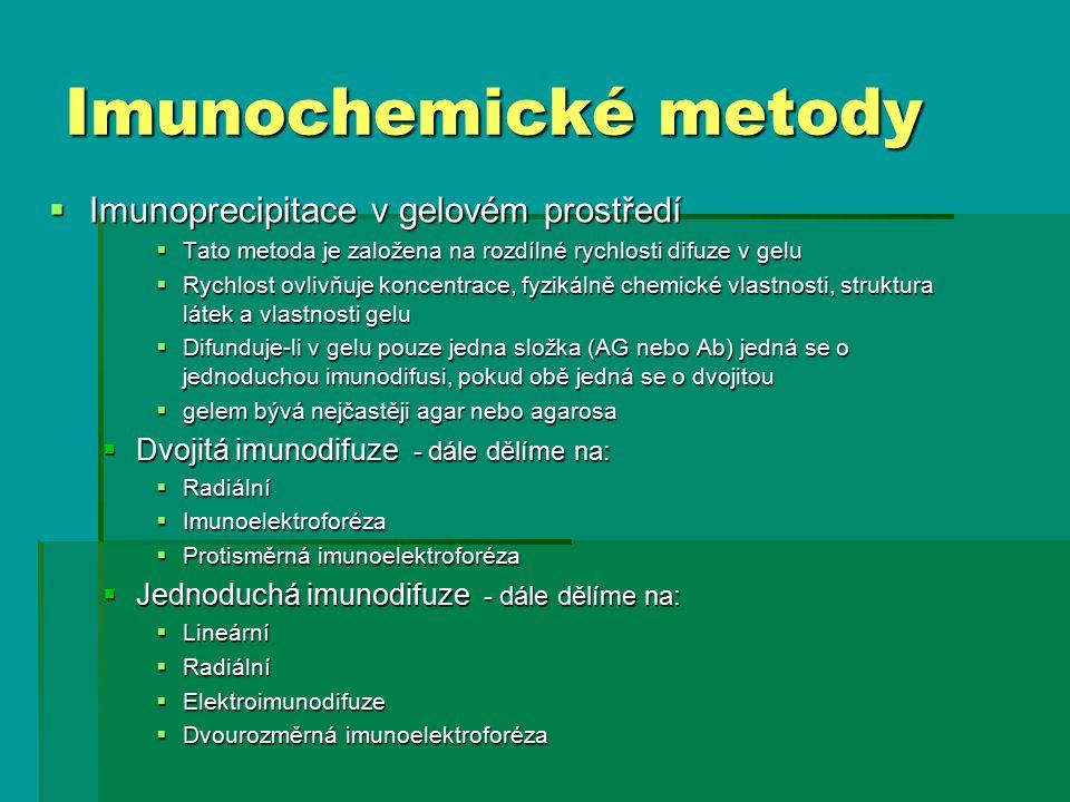 Imunochemické metody Imunoprecipitace v gelovém prostředí