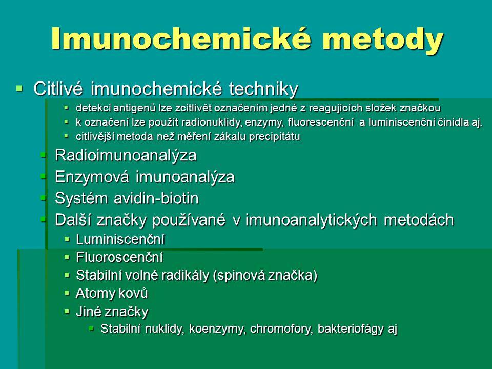 Imunochemické metody Citlivé imunochemické techniky Radioimunoanalýza