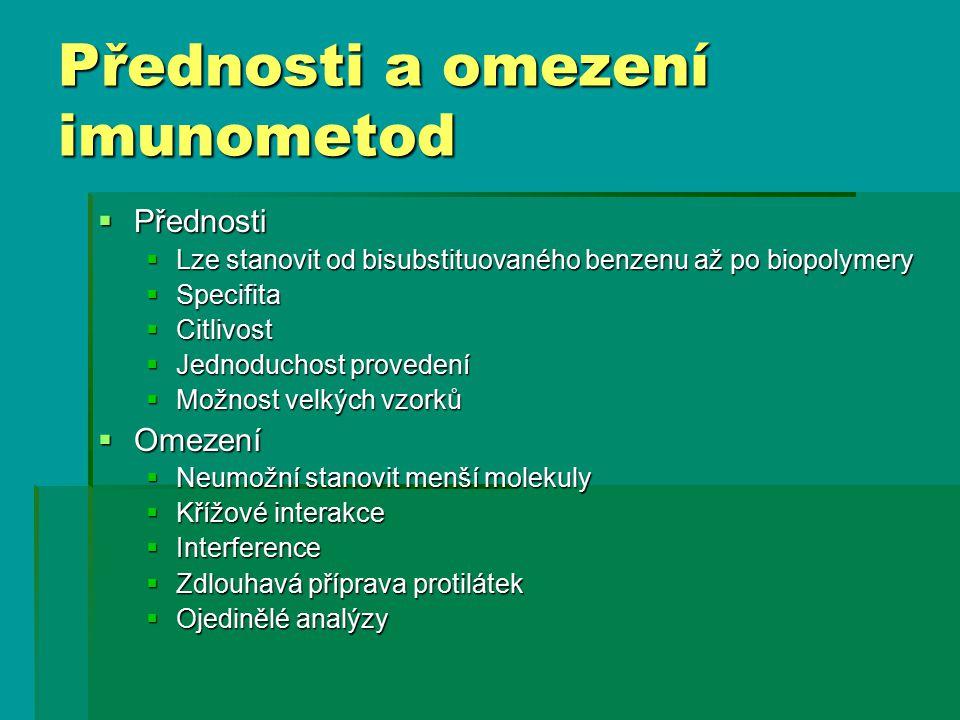 Přednosti a omezení imunometod
