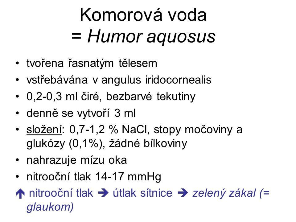 Komorová voda = Humor aquosus