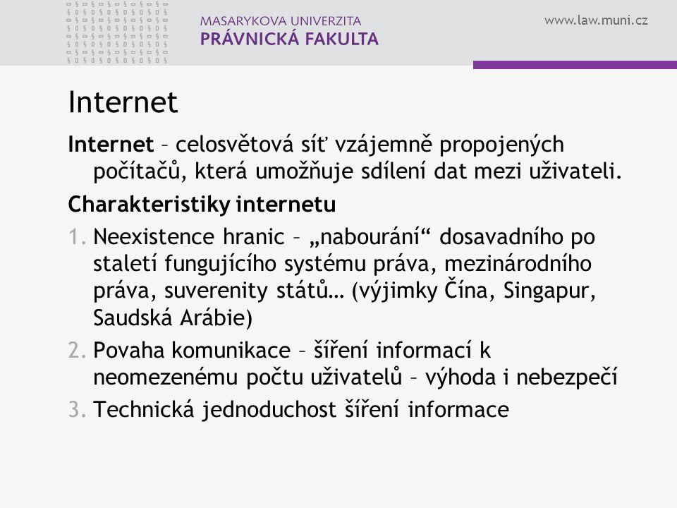 Internet Internet – celosvětová síť vzájemně propojených počítačů, která umožňuje sdílení dat mezi uživateli.