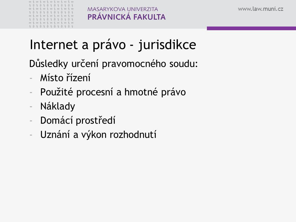 Internet a právo - jurisdikce