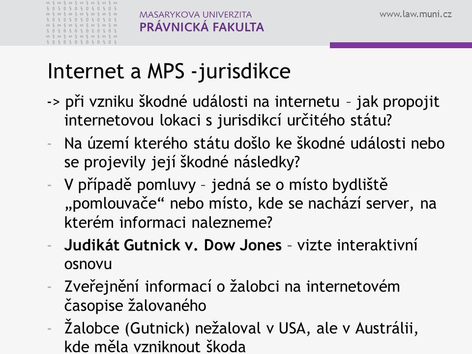 Internet a MPS -jurisdikce