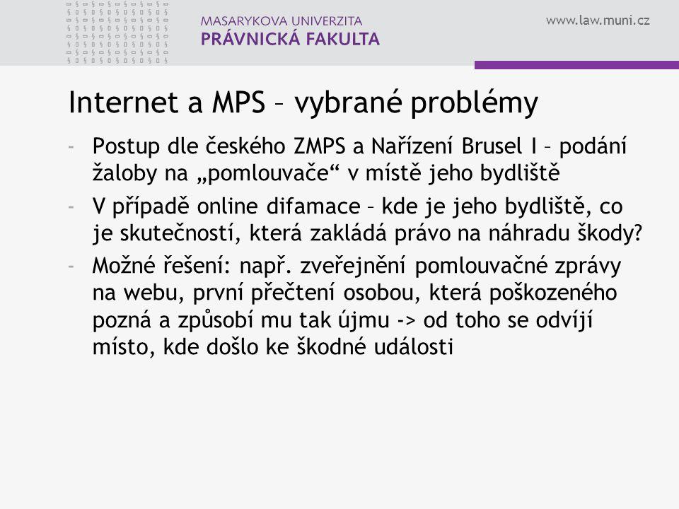 Internet a MPS – vybrané problémy