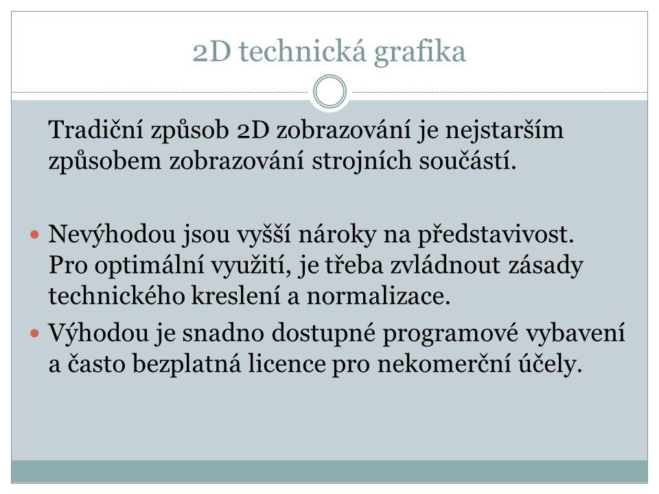 2D technická grafika Tradiční způsob 2D zobrazování je nejstarším způsobem zobrazování strojních součástí.