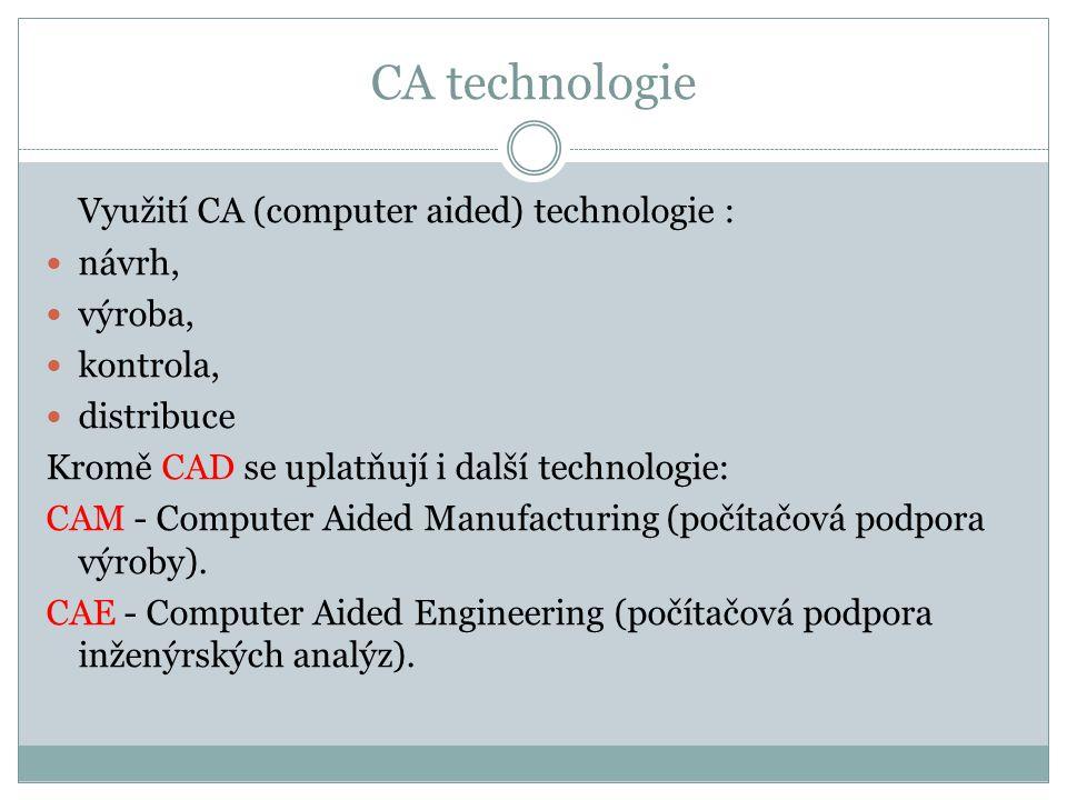 CA technologie Využití CA (computer aided) technologie : návrh,