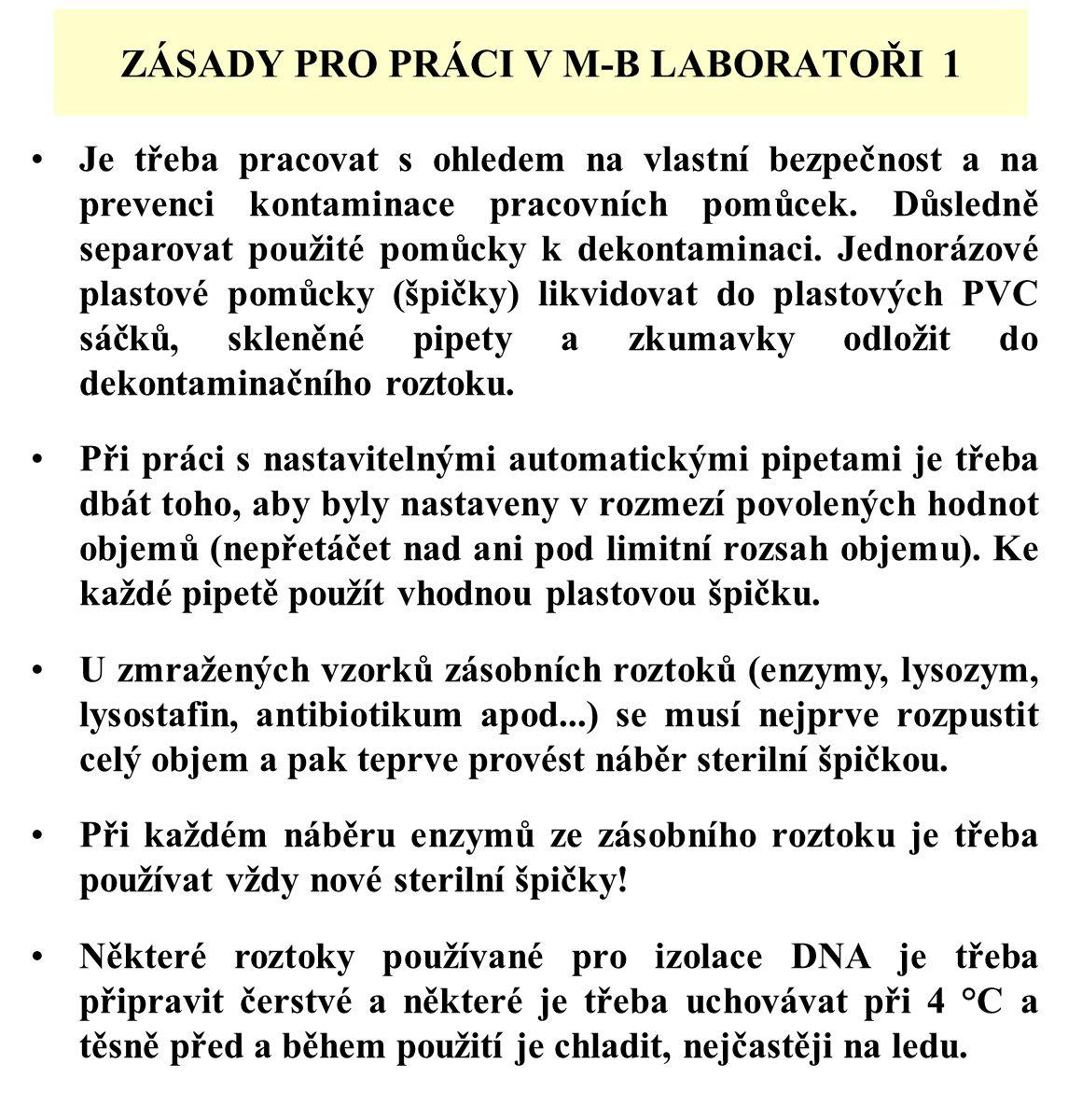 ZÁSADY PRO PRÁCI V M-B LABORATOŘI 1