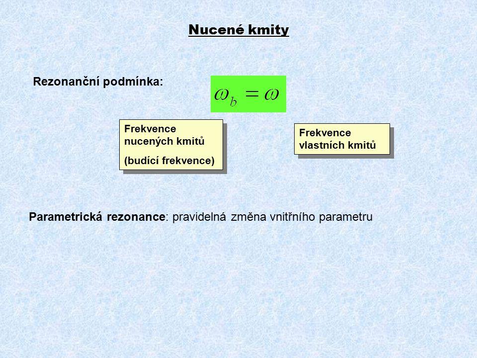 Nucené kmity Rezonanční podmínka: