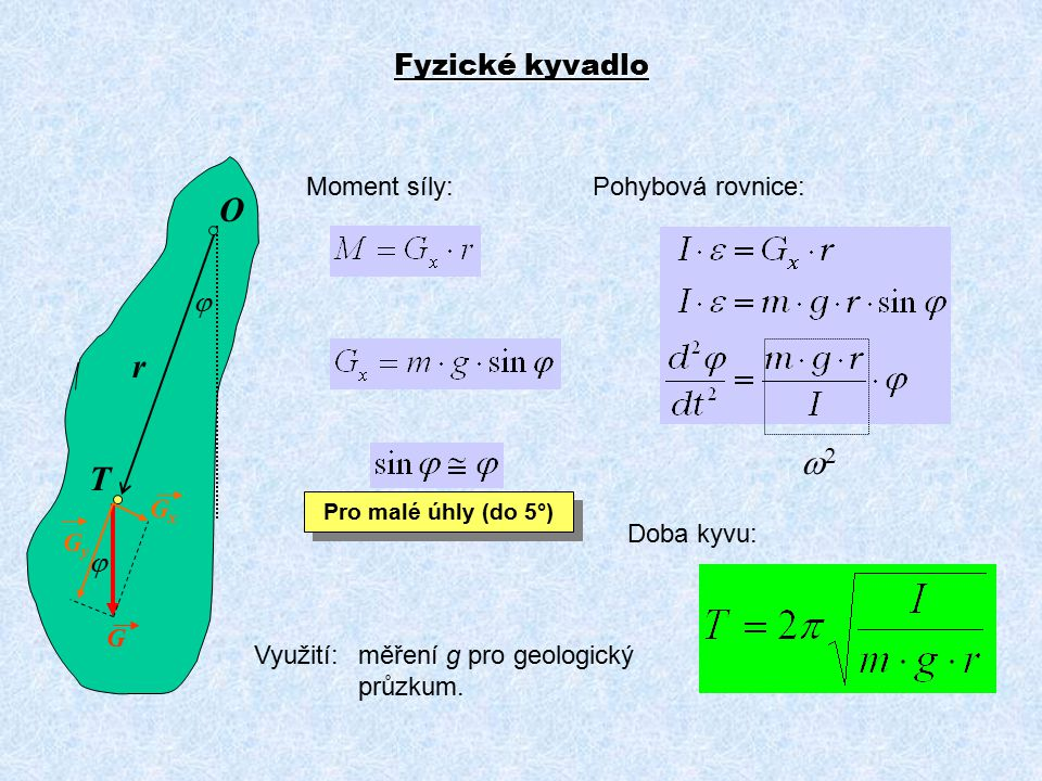 O r w2 T Fyzické kyvadlo j j Moment síly: Pohybová rovnice: Gy Gx