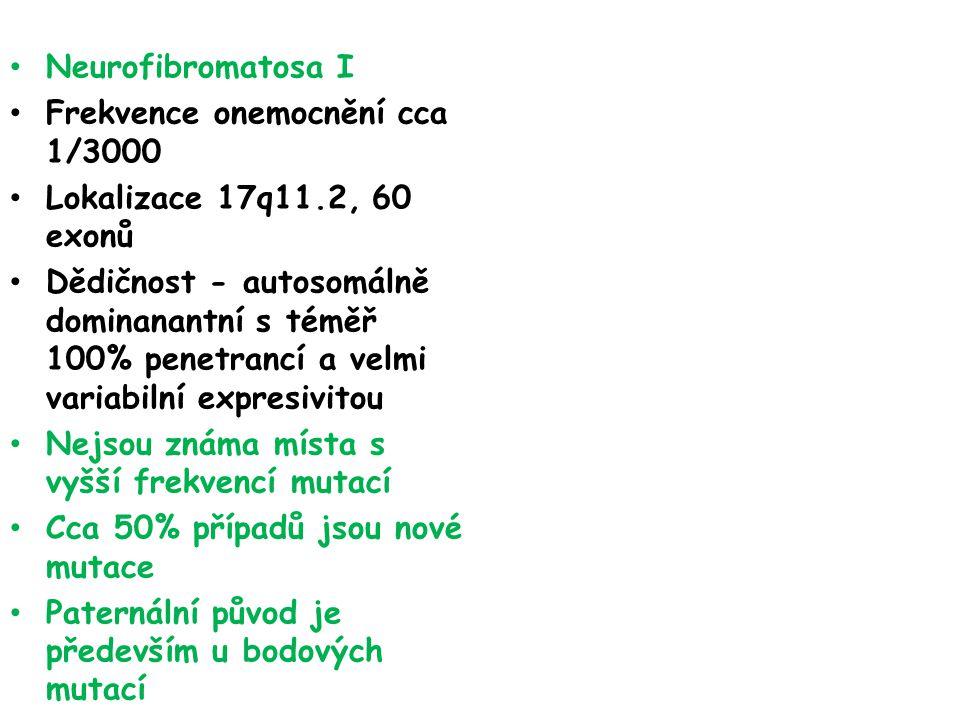 Neurofibromatosa I Frekvence onemocnění cca 1/3000. Lokalizace 17q11.2, 60 exonů.