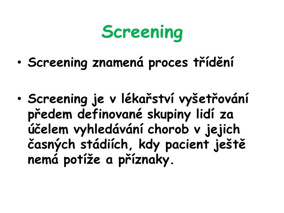 Screening Screening znamená proces třídění