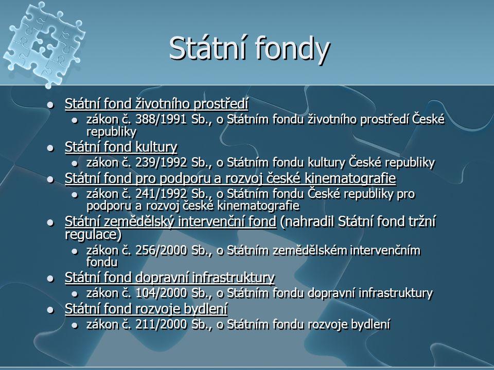 Státní fondy Státní fond životního prostředí Státní fond kultury