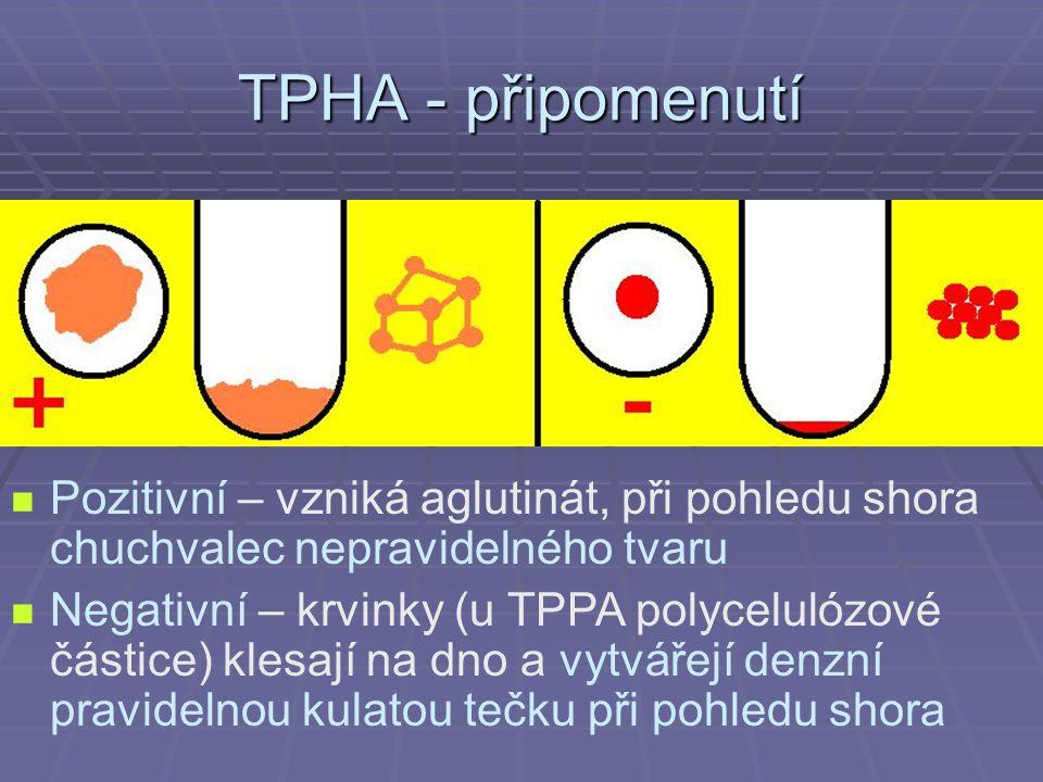 TPHA - připomenutí Pozitivní – vzniká aglutinát, při pohledu shora chuchvalec nepravidelného tvaru.