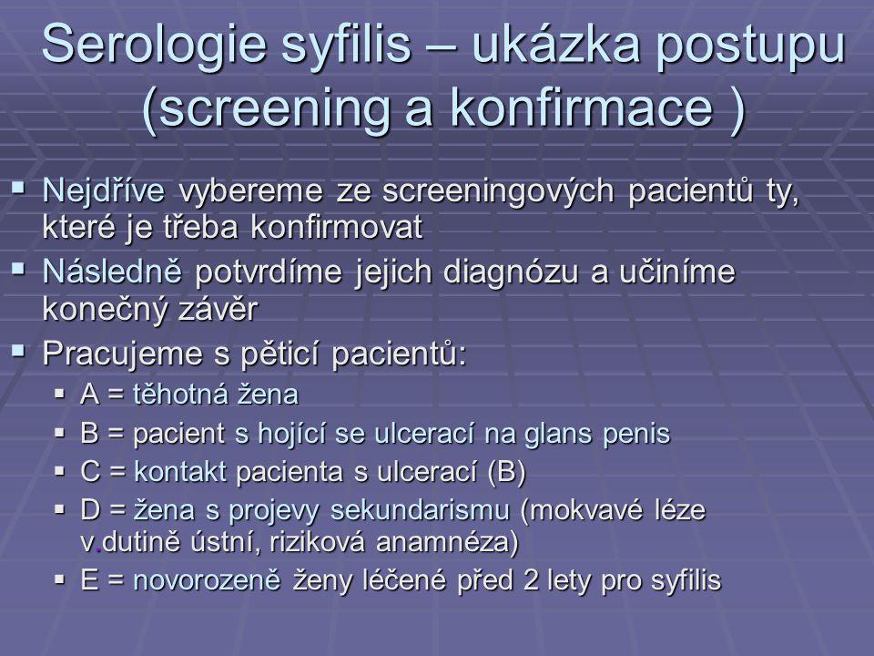 Serologie syfilis – ukázka postupu (screening a konfirmace )