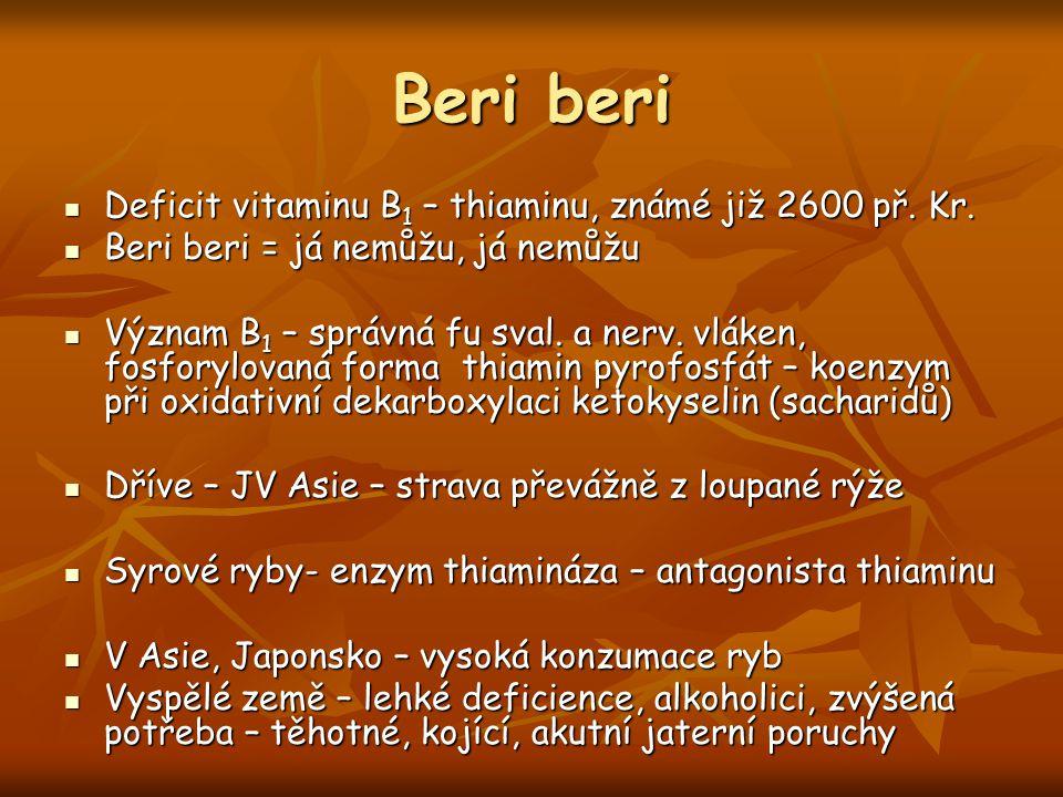 Beri beri Deficit vitaminu B1 – thiaminu, známé již 2600 př. Kr.