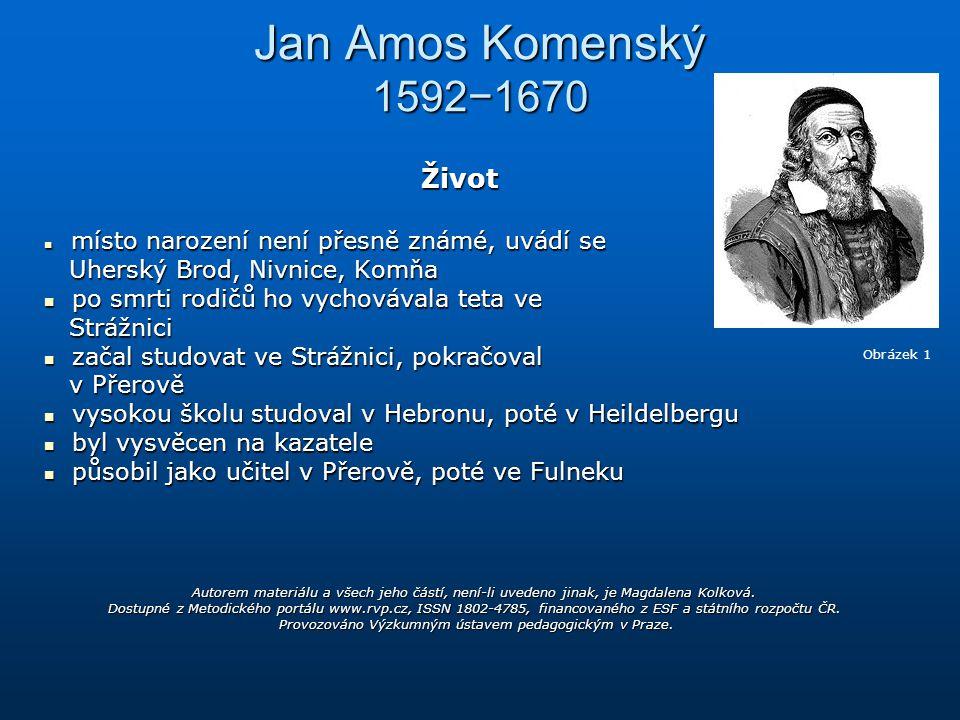 Jan Amos Komenský 1592−1670 Život Uherský Brod, Nivnice, Komňa