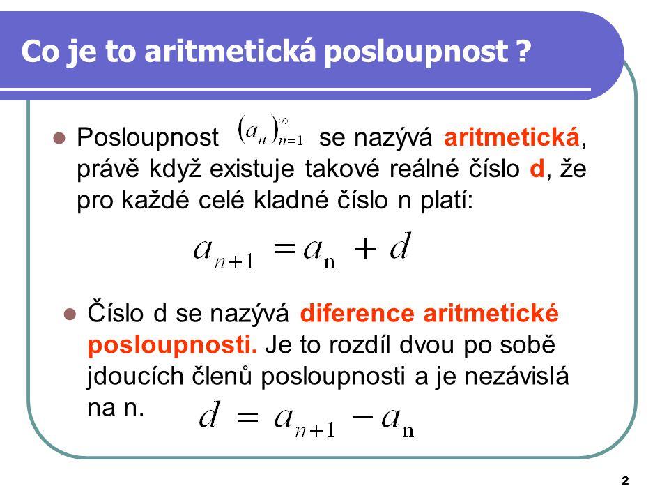 Co je to aritmetická posloupnost