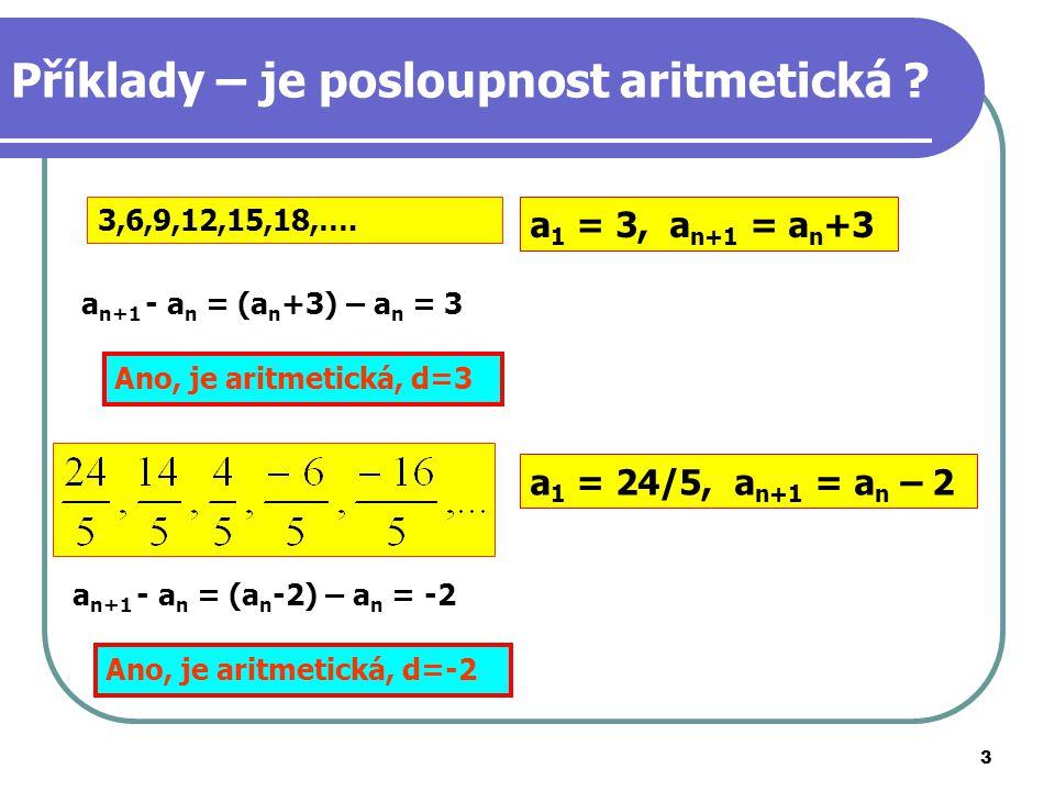Příklady – je posloupnost aritmetická