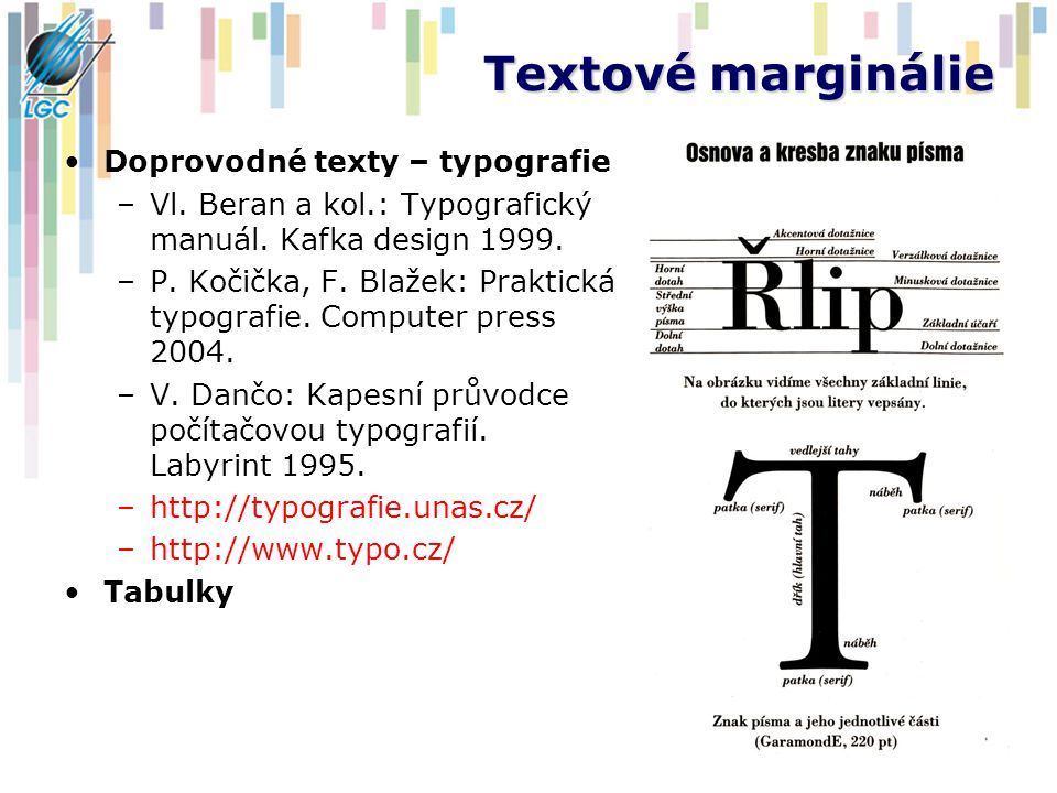 Textové marginálie Doprovodné texty – typografie