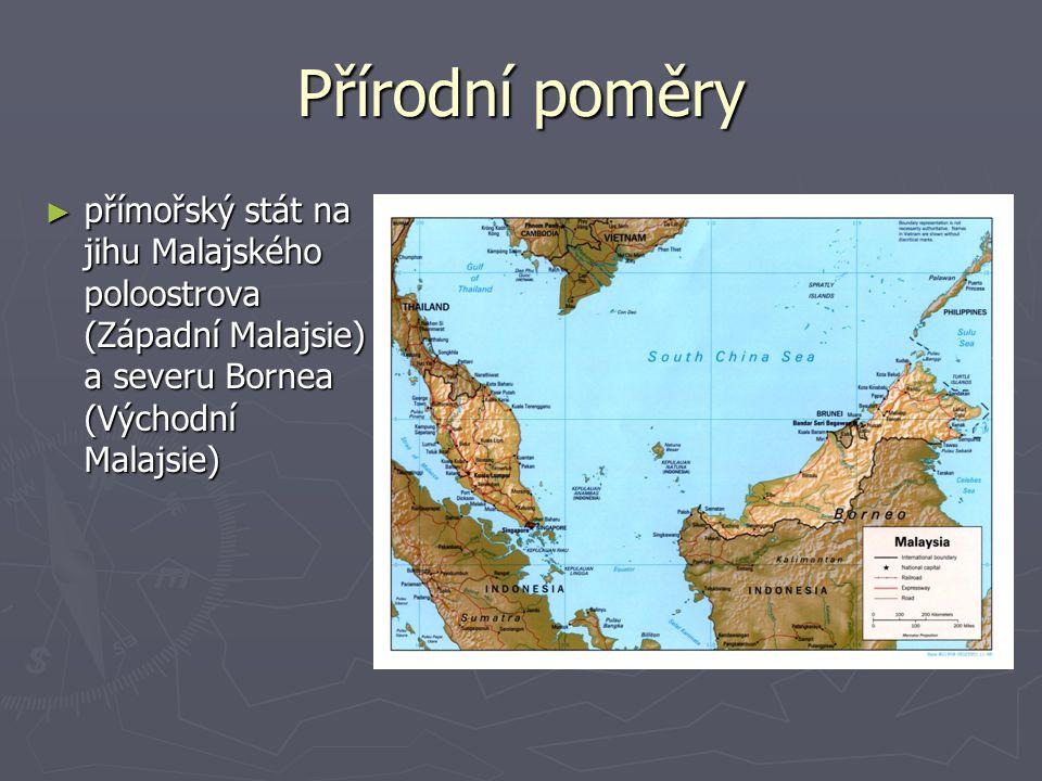Přírodní poměry přímořský stát na jihu Malajského poloostrova (Západní Malajsie) a severu Bornea (Východní Malajsie)