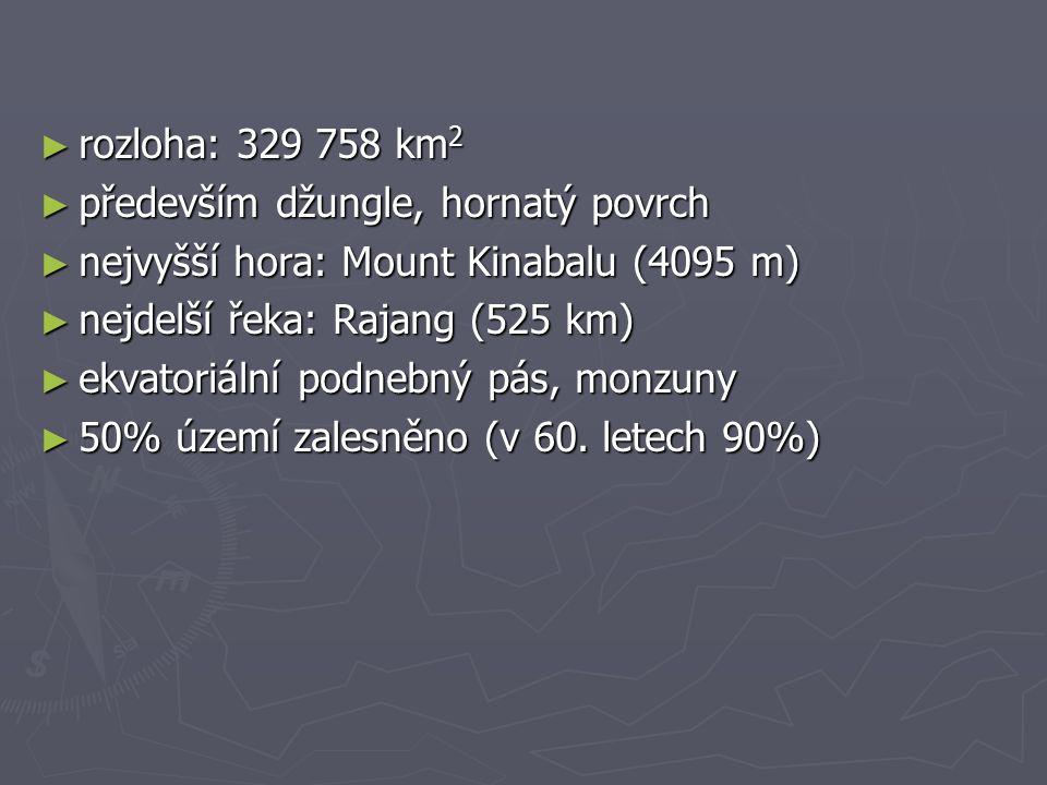 rozloha: 329 758 km2 především džungle, hornatý povrch. nejvyšší hora: Mount Kinabalu (4095 m) nejdelší řeka: Rajang (525 km)