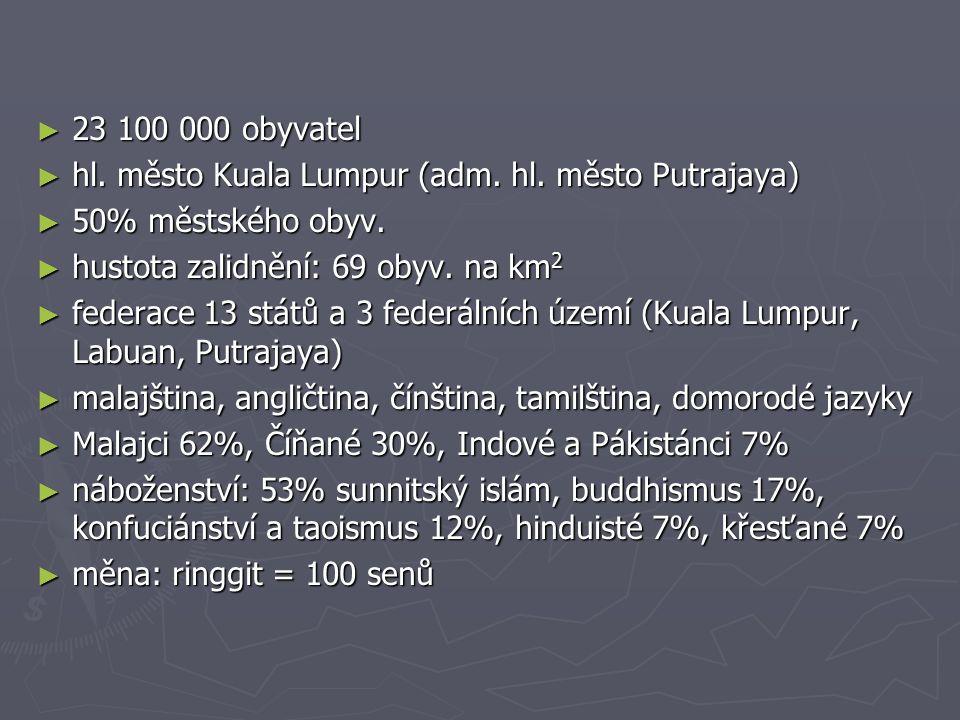 23 100 000 obyvatel hl. město Kuala Lumpur (adm. hl. město Putrajaya) 50% městského obyv. hustota zalidnění: 69 obyv. na km2.