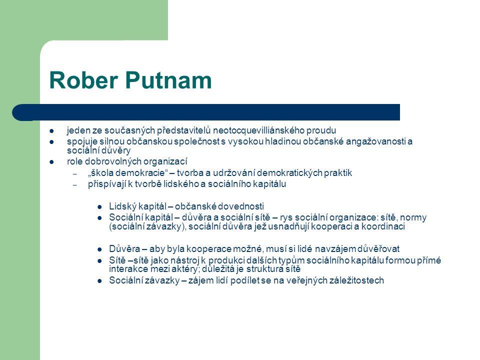 Rober Putnam jeden ze současných představitelů neotocquevilliánského proudu.