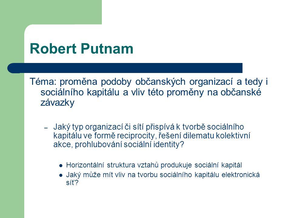 Robert Putnam Téma: proměna podoby občanských organizací a tedy i sociálního kapitálu a vliv této proměny na občanské závazky.