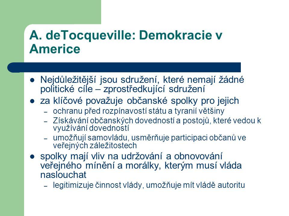 A. deTocqueville: Demokracie v Americe
