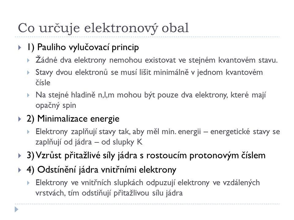 Co určuje elektronový obal