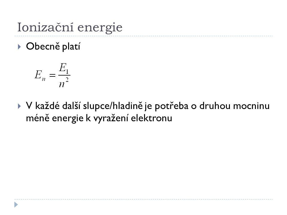 Ionizační energie Obecně platí