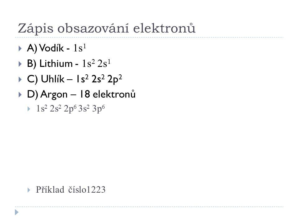 Zápis obsazování elektronů