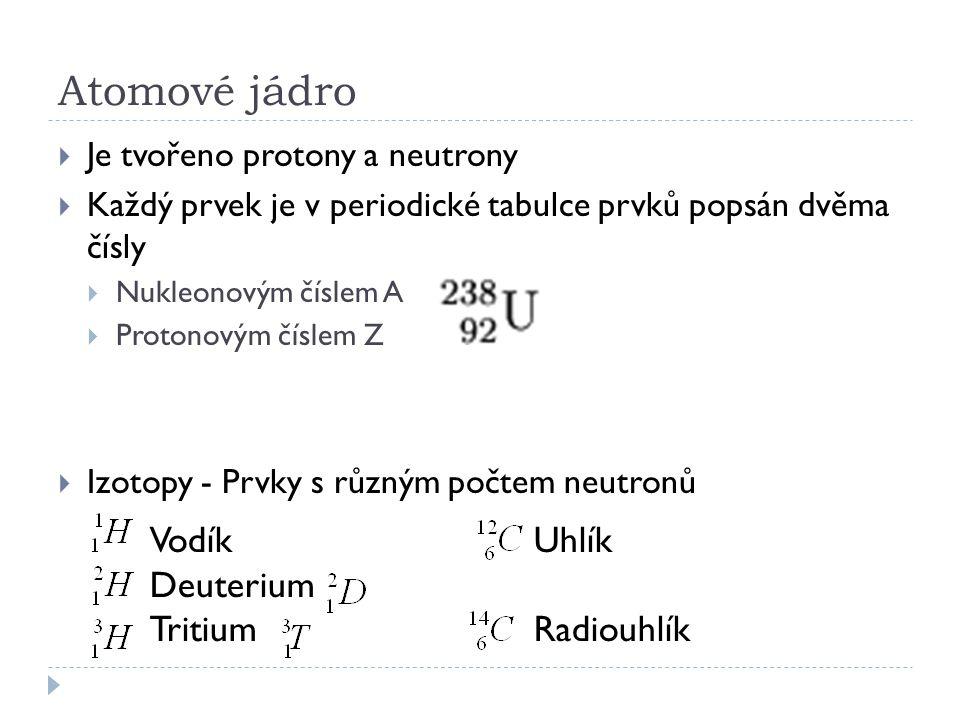 Atomové jádro Vodík Uhlík Deuterium Tritium Radiouhlík