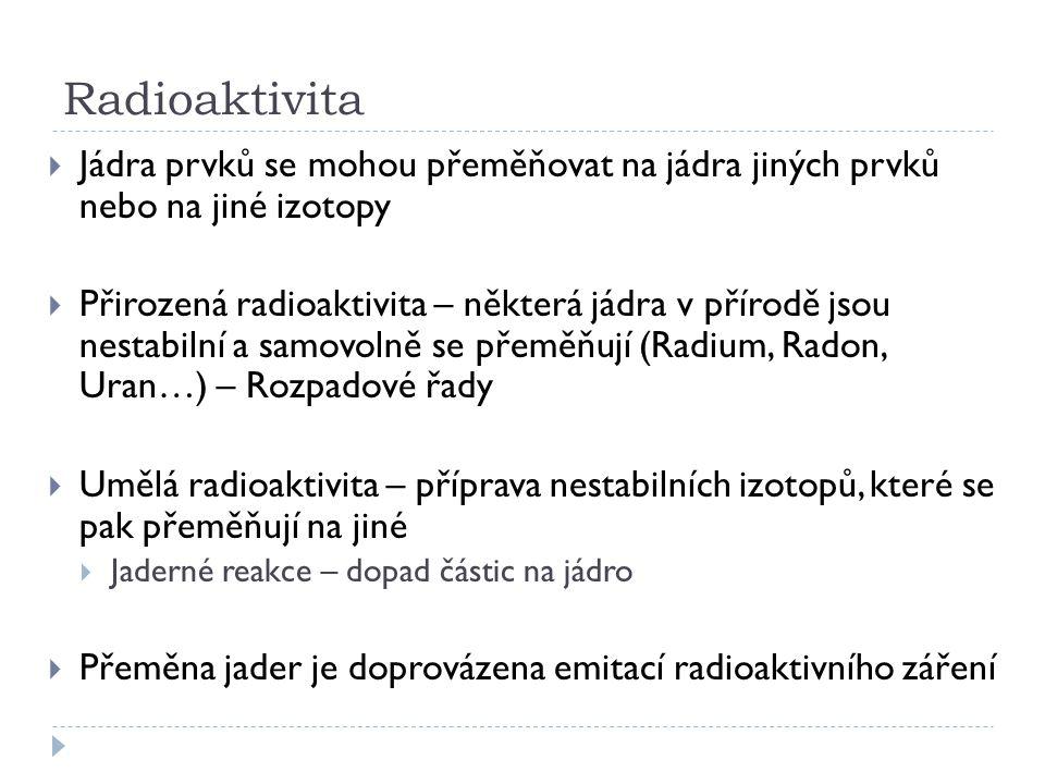 Radioaktivita Jádra prvků se mohou přeměňovat na jádra jiných prvků nebo na jiné izotopy.