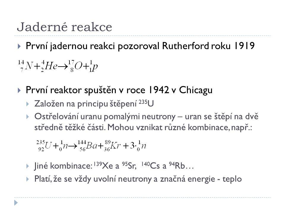 Jaderné reakce První jadernou reakci pozoroval Rutherford roku 1919