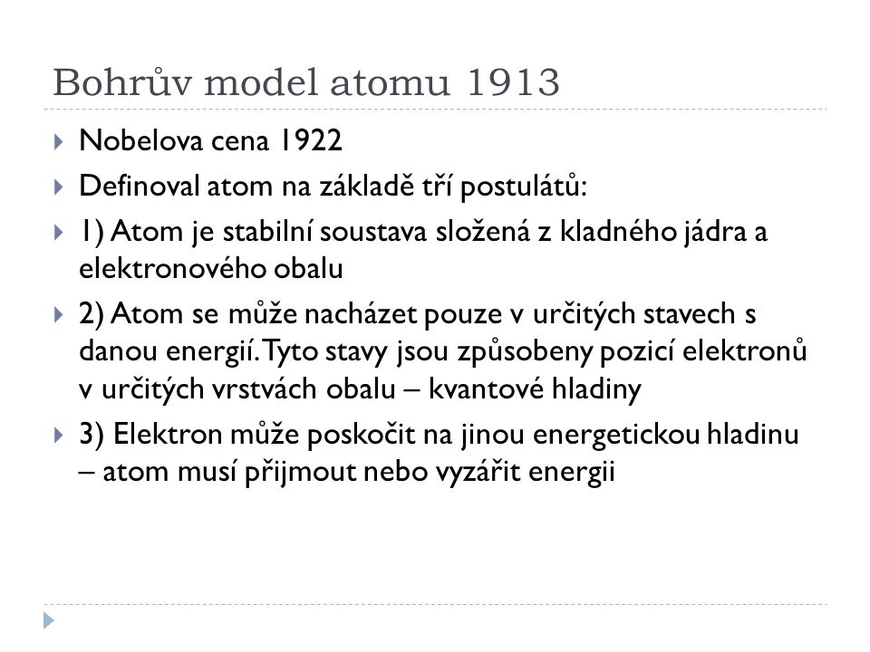 Bohrův model atomu 1913 Nobelova cena 1922