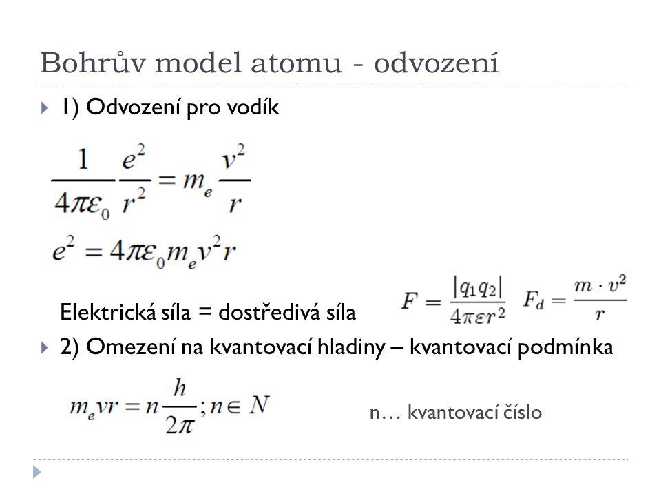 Bohrův model atomu - odvození