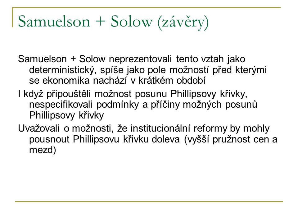 Samuelson + Solow (závěry)