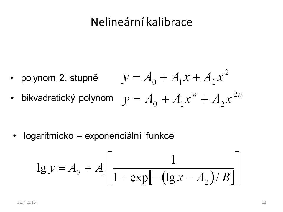 Nelineární kalibrace polynom 2. stupně bikvadratický polynom