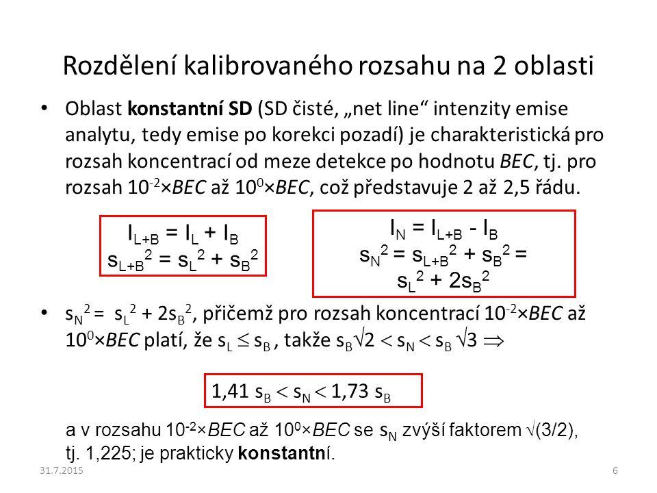 Rozdělení kalibrovaného rozsahu na 2 oblasti