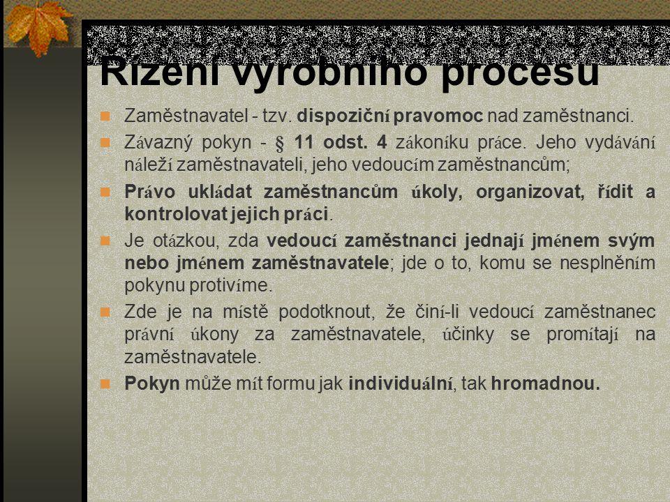 Řízení výrobního procesu