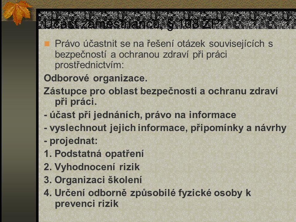 Účast zaměstnanců, § 108 ZP Právo účastnit se na řešení otázek souvisejících s bezpečností a ochranou zdraví při práci prostřednictvím: