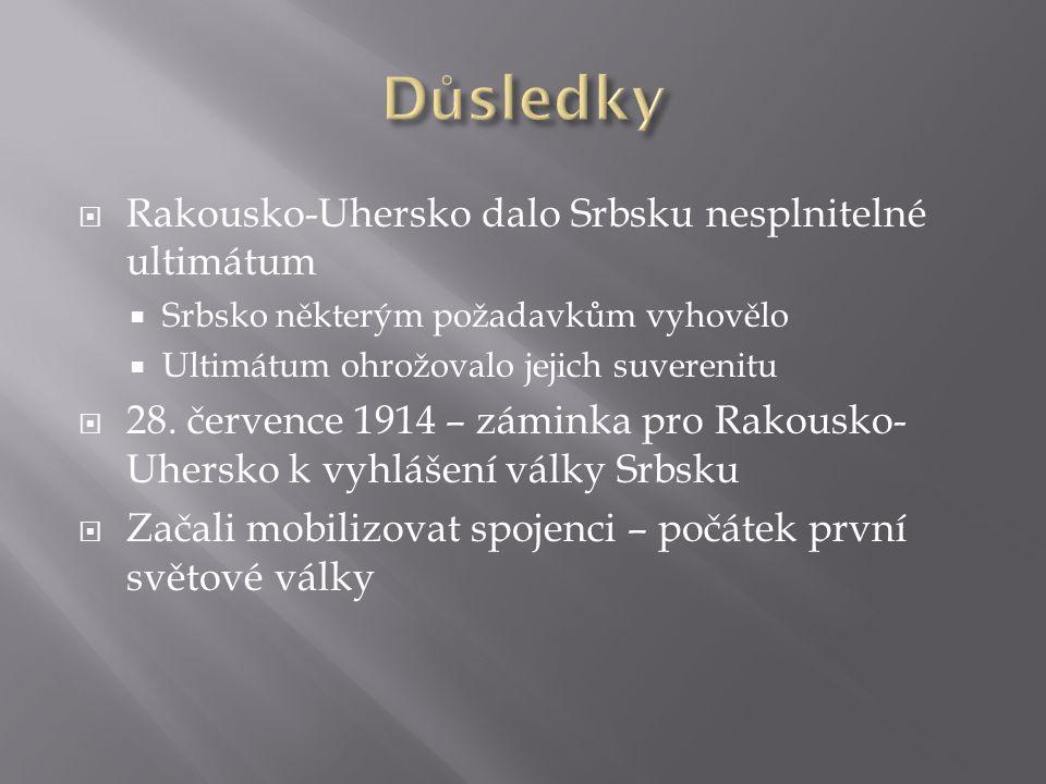 Důsledky Rakousko-Uhersko dalo Srbsku nesplnitelné ultimátum