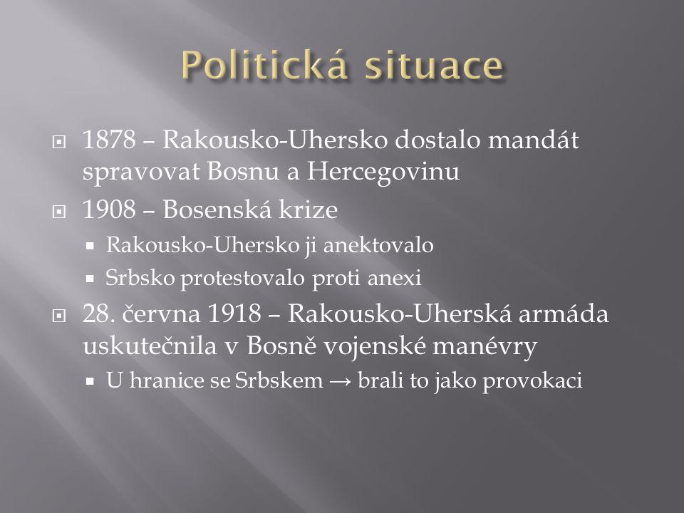 Politická situace 1878 – Rakousko-Uhersko dostalo mandát spravovat Bosnu a Hercegovinu. 1908 – Bosenská krize.