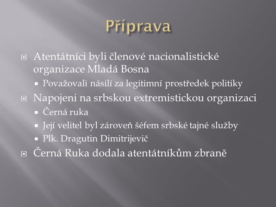 Příprava Atentátníci byli členové nacionalistické organizace Mladá Bosna. Považovali násilí za legitimní prostředek politiky.