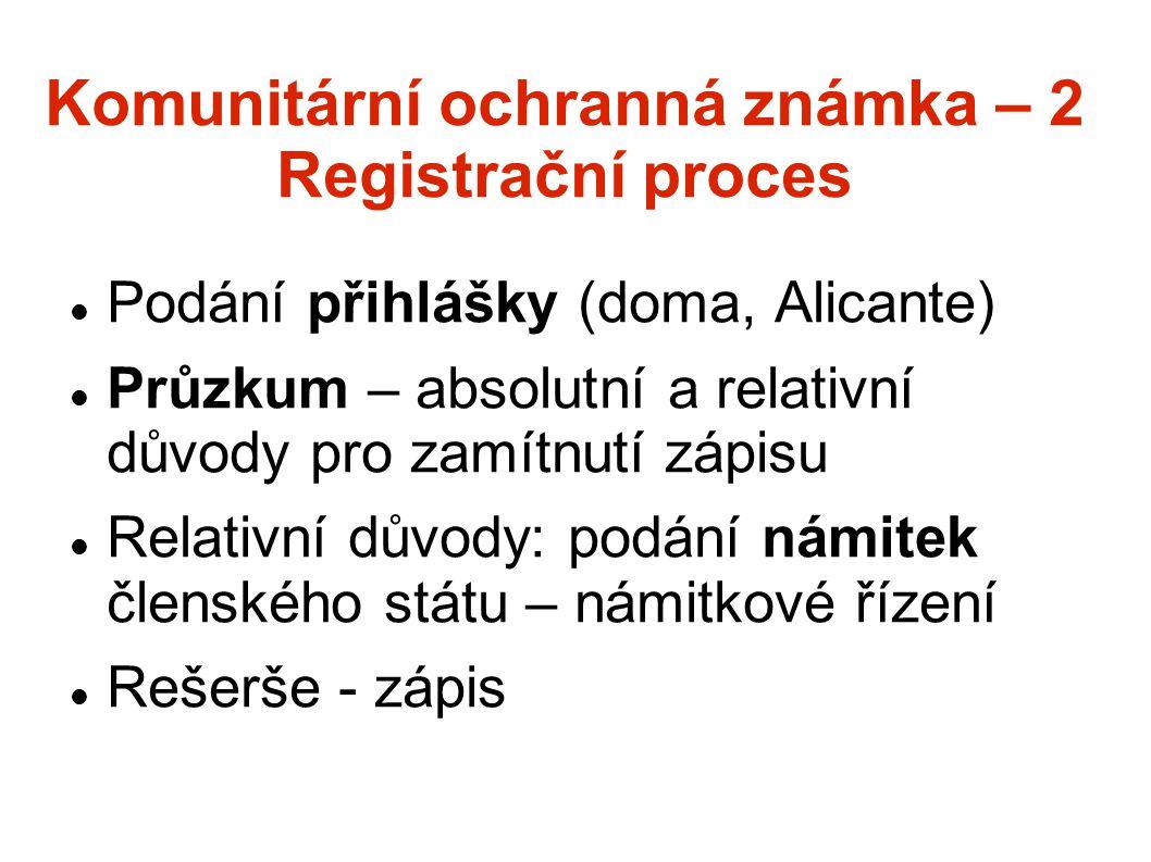 Komunitární ochranná známka – 2 Registrační proces