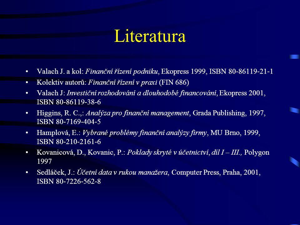 Literatura Valach J. a kol: Finanční řízení podniku, Ekopress 1999, ISBN 80-86119-21-1. Kolektiv autorů: Finanční řízení v praxi (FIN 686)
