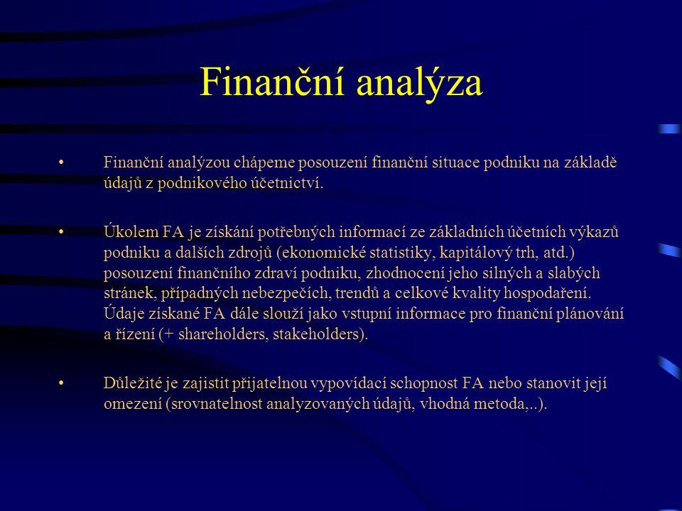 Finanční analýza Finanční analýzou chápeme posouzení finanční situace podniku na základě údajů z podnikového účetnictví.