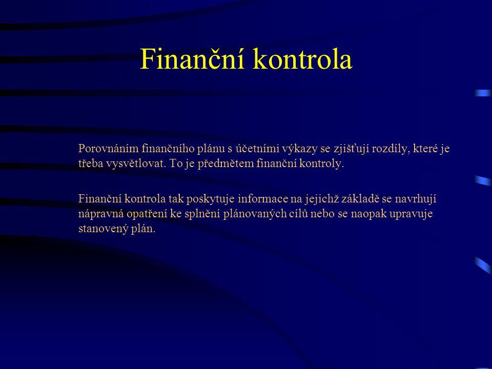 Finanční kontrola Porovnáním finančního plánu s účetními výkazy se zjišťují rozdíly, které je třeba vysvětlovat. To je předmětem finanční kontroly.