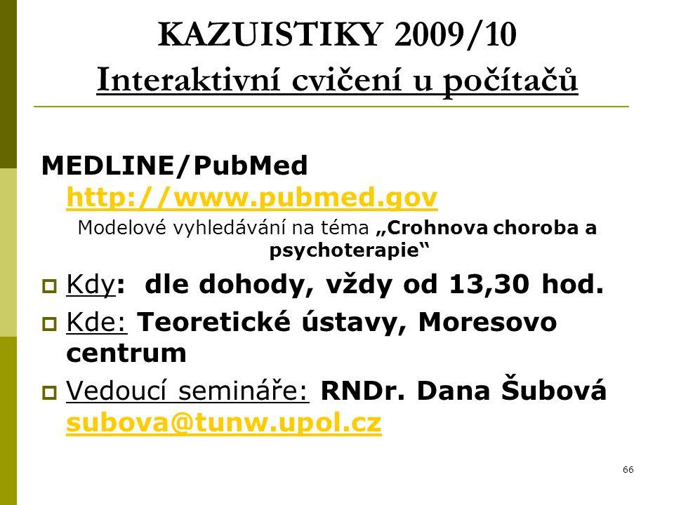 KAZUISTIKY 2009/10 Interaktivní cvičení u počítačů